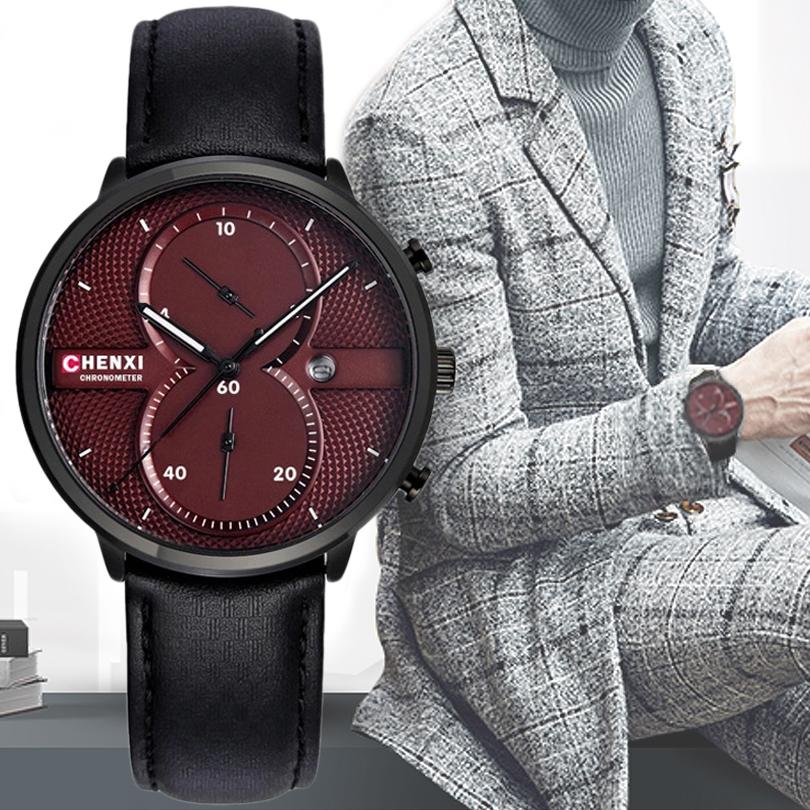 Prix pour CHENXI Hommes Montres Bracelet En Cuir Montre À Quartz Multifonctionnel avec Affichage de la Date Homme Horloge Top Marque De Luxe Qualité Montres
