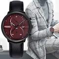 Chenxi hombres multifuncionales de pulsera correa de cuero reloj de cuarzo con fecha display reloj hombre relojes de marca de lujo de calidad superior