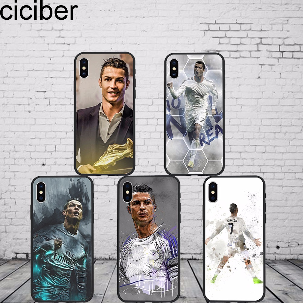 ciciber phone cases Football Soccer Cristiano Ronaldo CR7 Case Cover Phone for iphone 7 8 6 X 7 PLUS Silicone Hard PC Hybrid