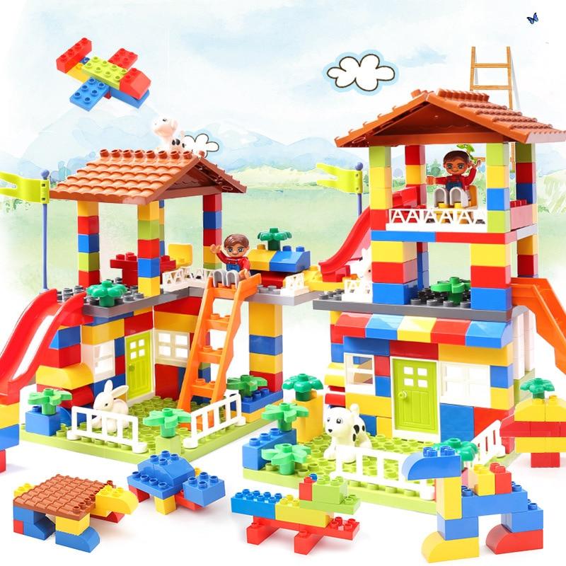 89pcs DIY Colorful City House Roof Big Particle Building Blocks Castle Educational Toy For Children Compatible legoings duploes цена