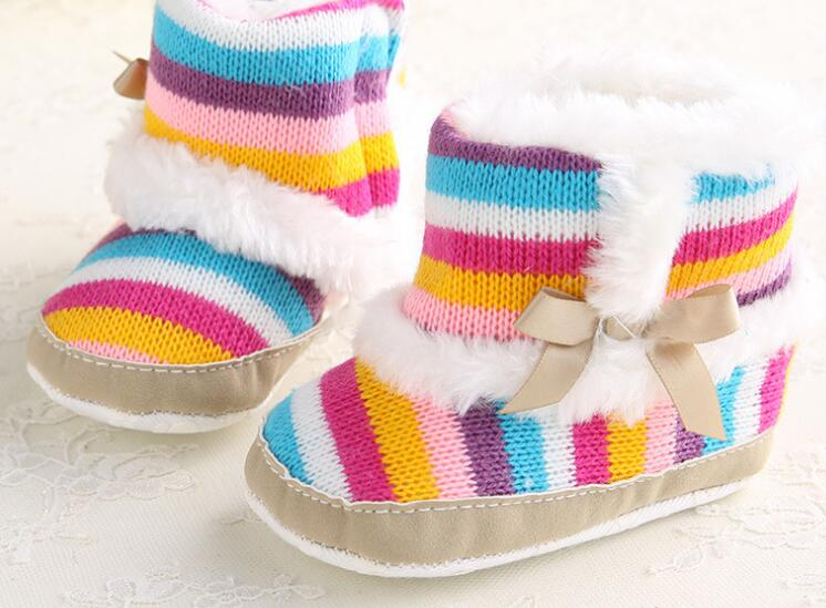 Baby Boots Newborn Girls Infant Shoes Prewalkers Crib Shoes Nonslip Fur 2019 Winter Warm Shoes Rainbow SandQ Baby New