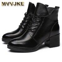 MVVJKE Women Shoes Boots Vintage Genuine Leather Snow Winter Plush Fur Warm Lace Up Ankle Mother Superstar Size 35 40