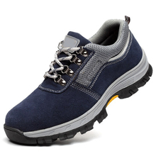 AC13001Security Shoes For Mens Toe Steel Safety Rubber OutsoleSuede Leather Working Lightweight Breathable