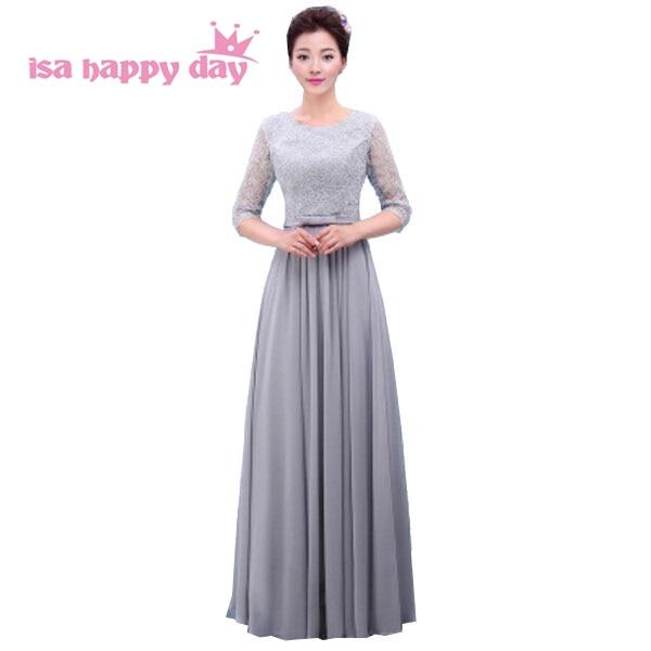Kleid grau blau lang