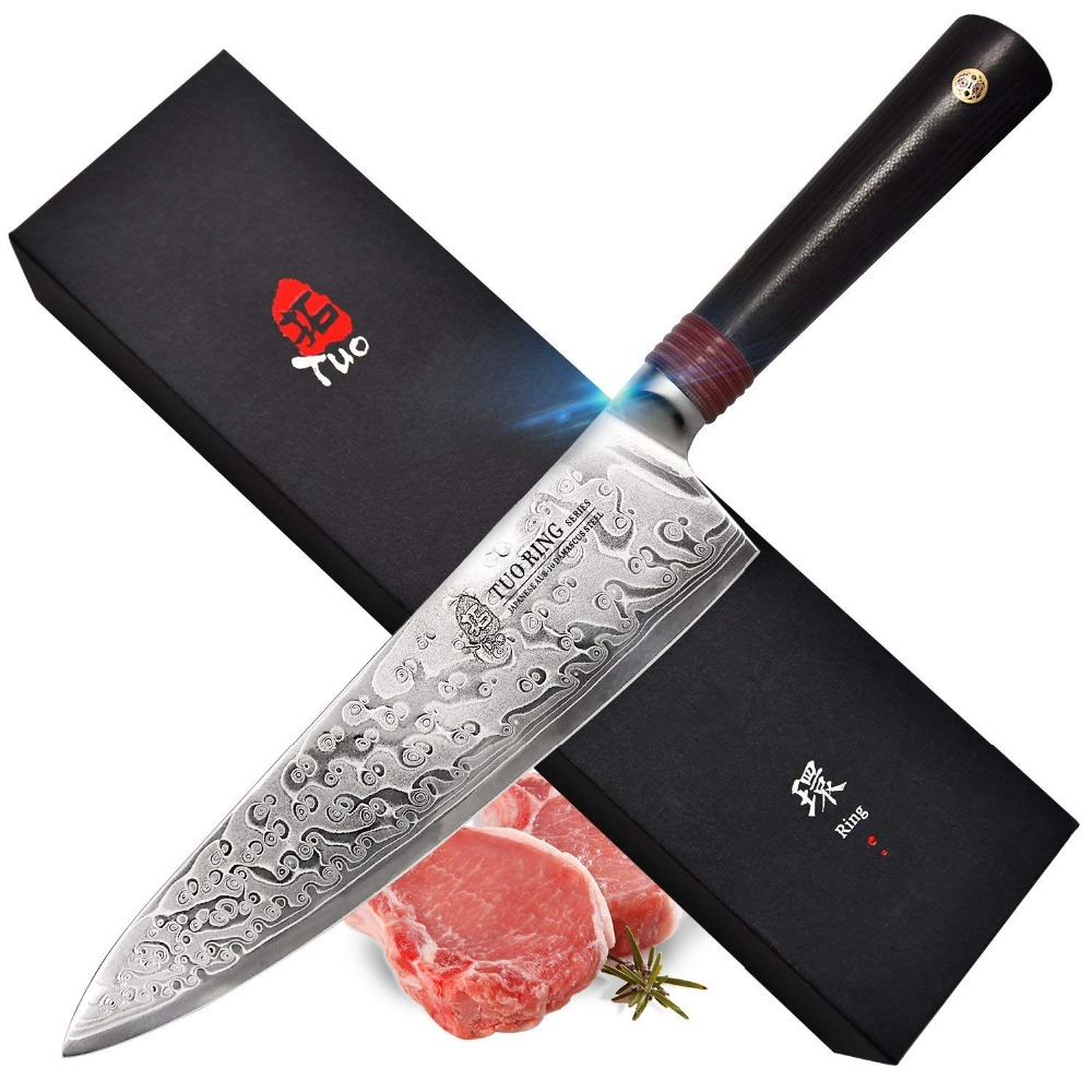 TUO Couverts couteau de chef, Japonais AUS-10 Haute Teneur En Carbone Rose Damas En Acier, chef de Cuisine Couteau avec Ergonomique G10 Poignée-9.5''