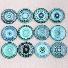 Onwear микс синий Мандала фото круглый стеклянный кабошон 12 мм 14 мм 18 мм 20 мм 25 мм 30 мм diy плоская задняя часть ручной работы компоненты ювелирных изделий
