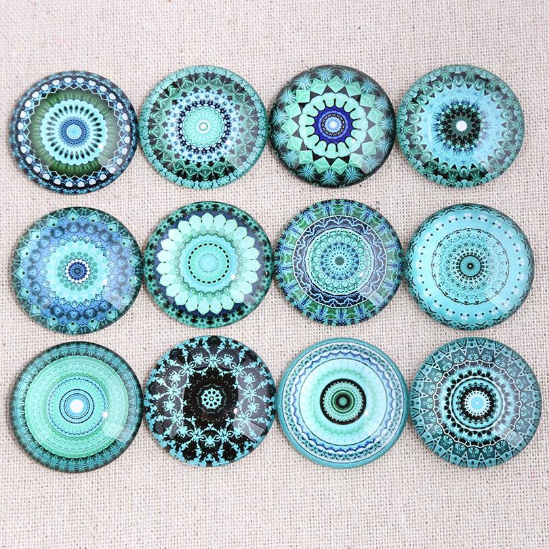 Onwear Mix Blue Mandala Photo Round Glass Cabochon 12mm 14mm 18mm 20mm 25mm 30mm Diy Flat Back Handmade Jewelry Components