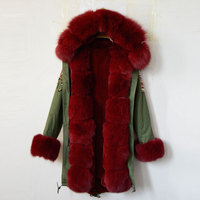 New Fashion Arrival 2016 USA Beading Long Women Jacket Wine Red Faux Fur Lining Fox Fur