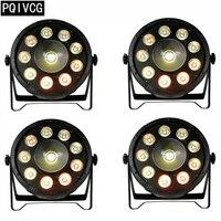 4pcs/ 9+1 rgb 3in1 led par light dmx flat par 25 degree lens par led lights