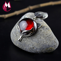 100 925 Sterling Silver Necklaces Pendants For Women Natural Stone Red Garnet Cute Fox Pendant Punk