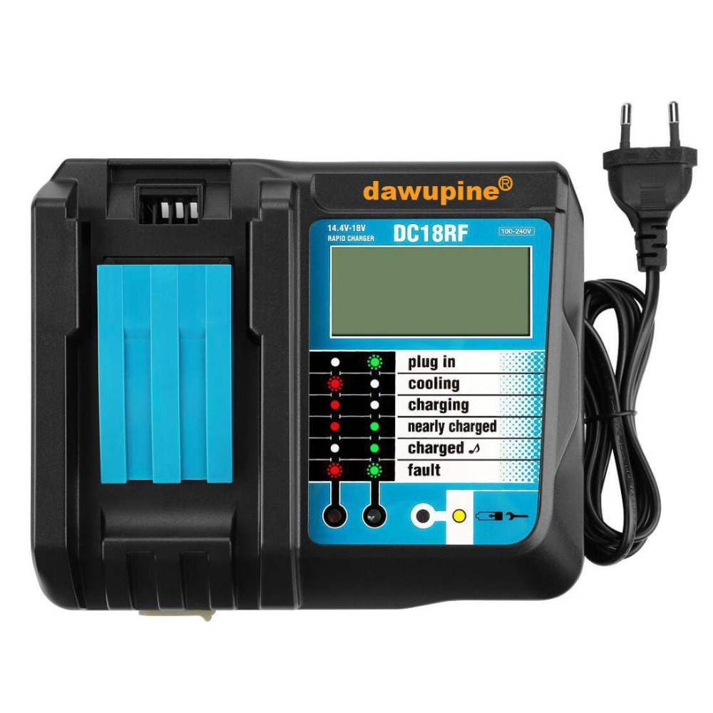 dawupine DC18RF Li ion Battery Charger 3.5A Charging Current USB 2.1A Output LCD For Makita 14.4V 18V BL1830 Bl1430 DC18RC-in Chargers from Consumer Electronics