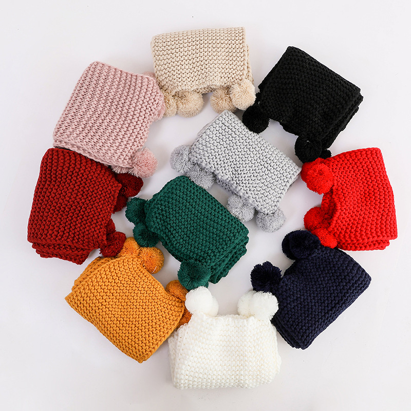 Knitted Cotton Baby Scarf - Winter Children Clothing