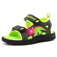 Kids Sandals Boy Dinosaur LED Children's Summer Shoes Light Up Kids Child Beach Shoes Blue Gray Sandals for Baby Boys