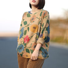 Johnature Women Print Floral Pullover Sweaters 2018 Autumn New Knitted Long Sleeve O-Neck Vintage Chinese Style Soft Sweaters(China)