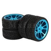 4 X On Road Racing Car Rubber Tires And Aluminum Alloy 10 Spoke Black Wheels Rim