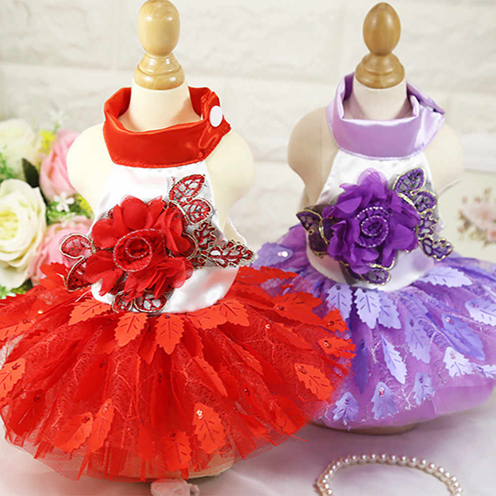 美しい犬ドレスウェディングドレスペット小型犬レース猫スカートのパーティーの王女ペットアパレル注ぐチェン