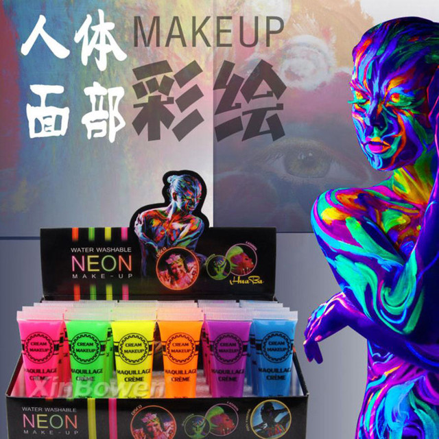 New Colorful Makeup Face Painting Halloween Environmental Body Painting  Intense Neon Face   Body Paint Dance Festival Rave 99d6261e07