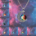 2014 New Fashion Galaxy Necklace Lovely Galaxy Cabochon Alloy Hollow Moon Pendant Silver Chain Necklace Best Gift Free Shipping