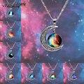 2014 nueva moda Galaxy collar precioso Galaxy Cabochon aleación Hollow luna colgante de collar de cadena de plata mejor que envía libremente
