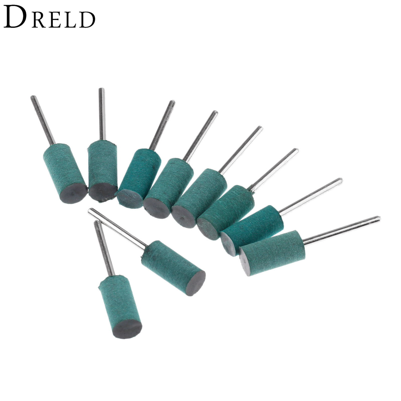 DRELD 10Pcs Dremel Accessories 10mm Cylindrical Rubber Polishing Grinding Head Mounted Points For Rotary Tools 3mm 1/8