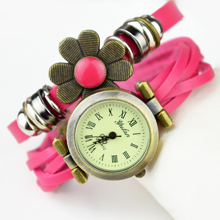 Ouriner Fahsion New Best Selling Women Leather Bracelet Watch Women Dress Watches leaf Vintage WristWatch No