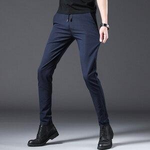 Image 2 - Jantour 2020 ファッション男性パンツスリムフィット春夏高品質ビジネスフラット全身薄型カジュアルズボン男性