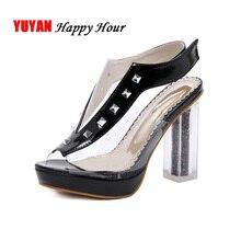 купить 2019 Summer High Heel Sandals Women Platform Shoes Women Square Heels Sandals Ladies Black White Shoes Super High Heel A1076 по цене 1583.25 рублей