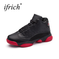 New Brand Childrend Basketball Shoes Leather Boys Kids Sport Trainers Big Boys Basketball Boots Black Red