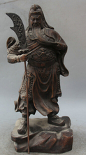 JP S61 15″ China Bronze Folk Stand Guan Gong Yu Warrior God General sword knife Statue