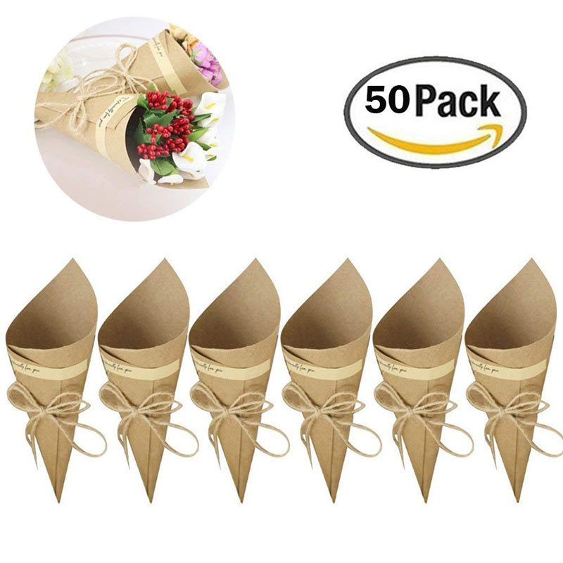 50Pcs/set Retro Folding Kraft Paper Confetti Cone Bouquet With Hemp Ropes Wedding DIY Decoraion Gifts Packing Party Supplies