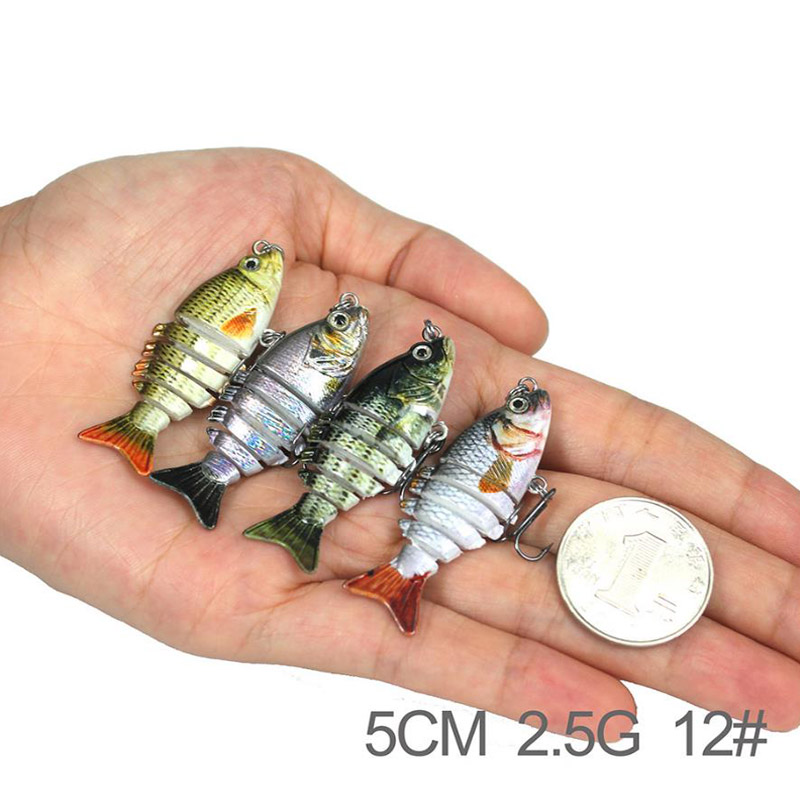 AFISHLURE 50mm 2.5g Fishing Lure Isca 6 Segments Multi Jointed Natural Lifelike carp pike Swimbait Hard Artificial Bait
