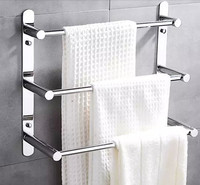 Modern 304 Stainless Steel Towel Bar/Towel Rack 3 layers bathroom shelf Wall Mounted Bathroom Accessories 38/48/58cm