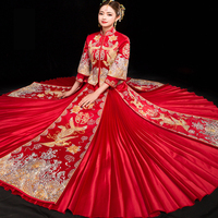 Luxurious Chinese Style Wedding Gown Dress Women Cheongsam Dragon Phoenix Embroidery Qipao Oriental Party Dresses Red Qi Pao
