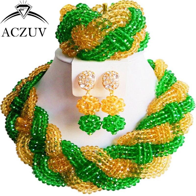 ACZUV vert et Champagne or Costume perles africaines ensemble de bijoux pour mariage nigérian A12R016