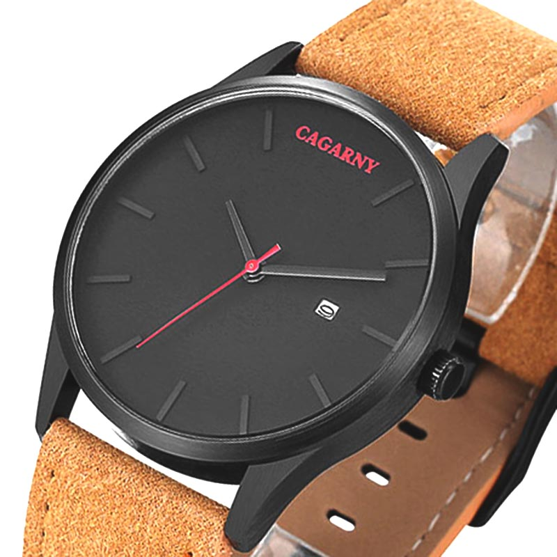 Casual Mens Watches Top Brand Luxury Men's Quartz Watch dress Sport Military Watches Men Leather CAGARNY watch Relogio Masculino