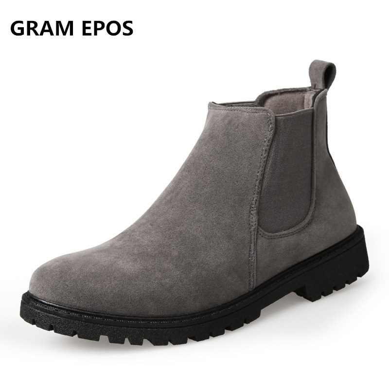 GRAM EPOS Autumn Winter Fur& Cotton inside Men Ankle Chelsea Boots Male Shoes Suede Leather Quality Slip Ons Motorcycle botas northmarch luxury brand men shoes for winter basic ankle boots genuine leather men s chelsea boots black botas moto hombre