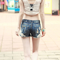 2017 New Lace Crochet Women  Wash Jeans Denim Hole Cotton Shorts Plus Size Rivet Decorated Summer Fashion Lady Short Pants B414