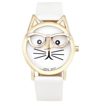 Zegarek damski młodzieżowy kot w okularach