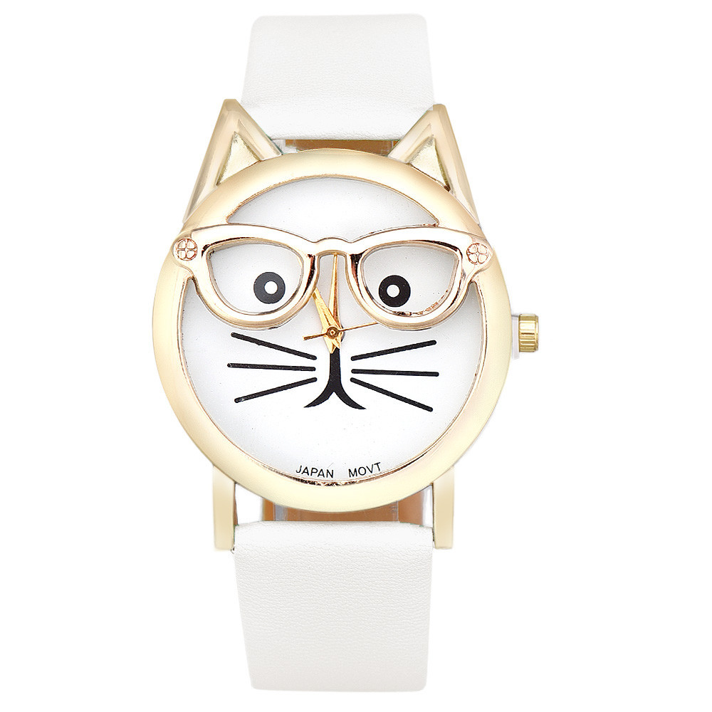 2018 Watch Women Luxury Brand Date With Leather Printing Cat Face Fashion Ladies Watch Relogio Feminino Elegant Wristwatch Gift ccq luxury brand watch women luxury leather watch men women wristwatch ladies dress relogio feminino big quartz watch gift