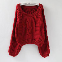 Spring Women New Lantern Sleeve O Neck Loose Knitted Sweater Candy Color Thickened Oversize Pullover Sweaters