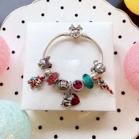 Kristie High Quality Original 1:1 Red Beads Mickey Minnie Love Santa Ping Bracelet Manufacturers Attacked Free Stamps