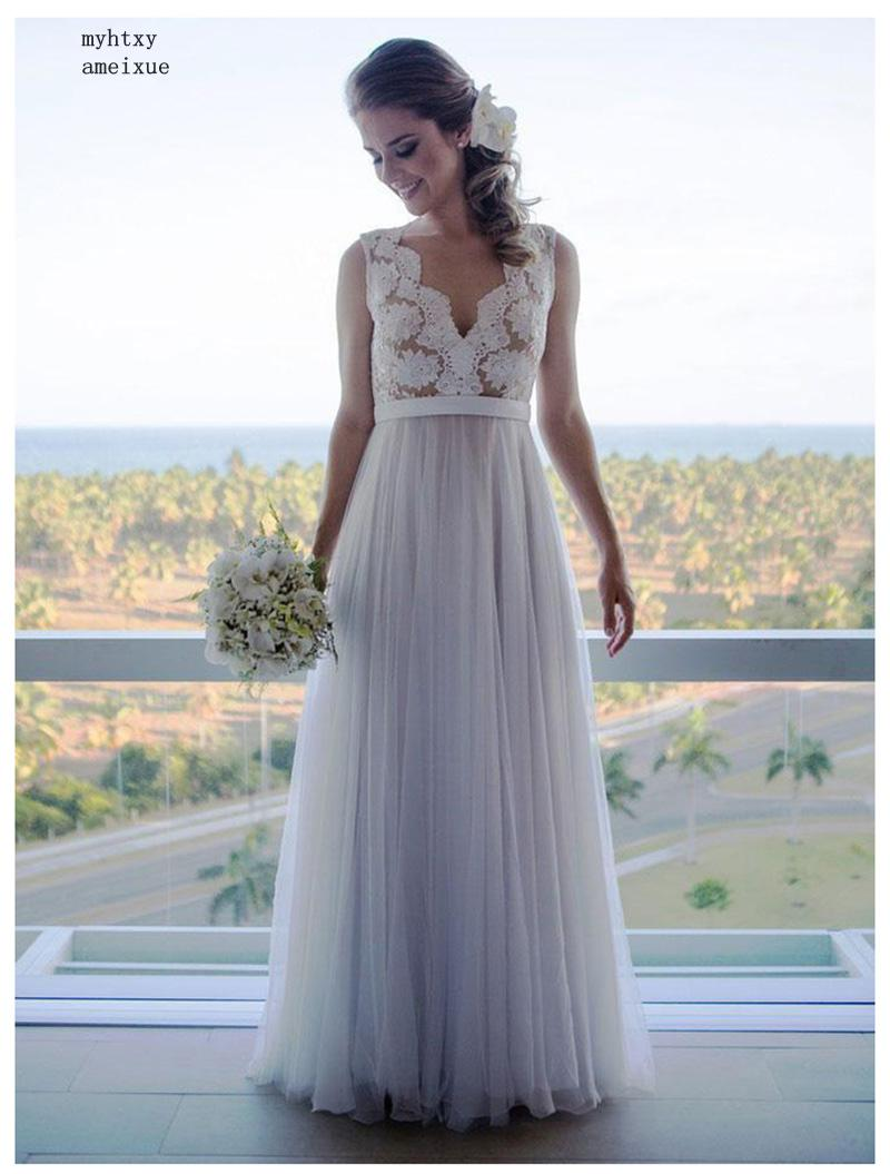 Knowledgeable New Cheap Wedding Dress 2019 Champagne Lace A-line Vestido De Novia Playa Simple Bridal Gown Custom Made China Bridal Gowns