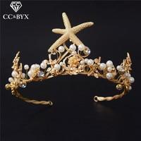 CC Wedding Crown Headband Tiaras Vintage Baroque Style Crystal Pearl Star Shape Hair Accessories For Bride