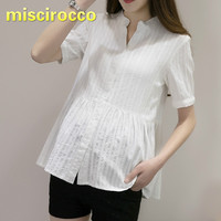 2018 Summer Maternity Cotton Shirt Short Sleeved Pregnant Woman Clothing V Collar White Soft Comfortably Breathable Tops