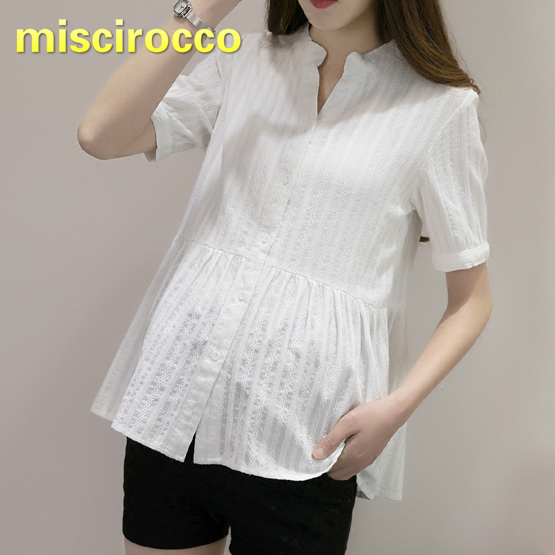 Maternity Cotton Shirt Short Sleeved Pregnant Woman Clothing V Collar White Soft Comfortably Breathable Tops