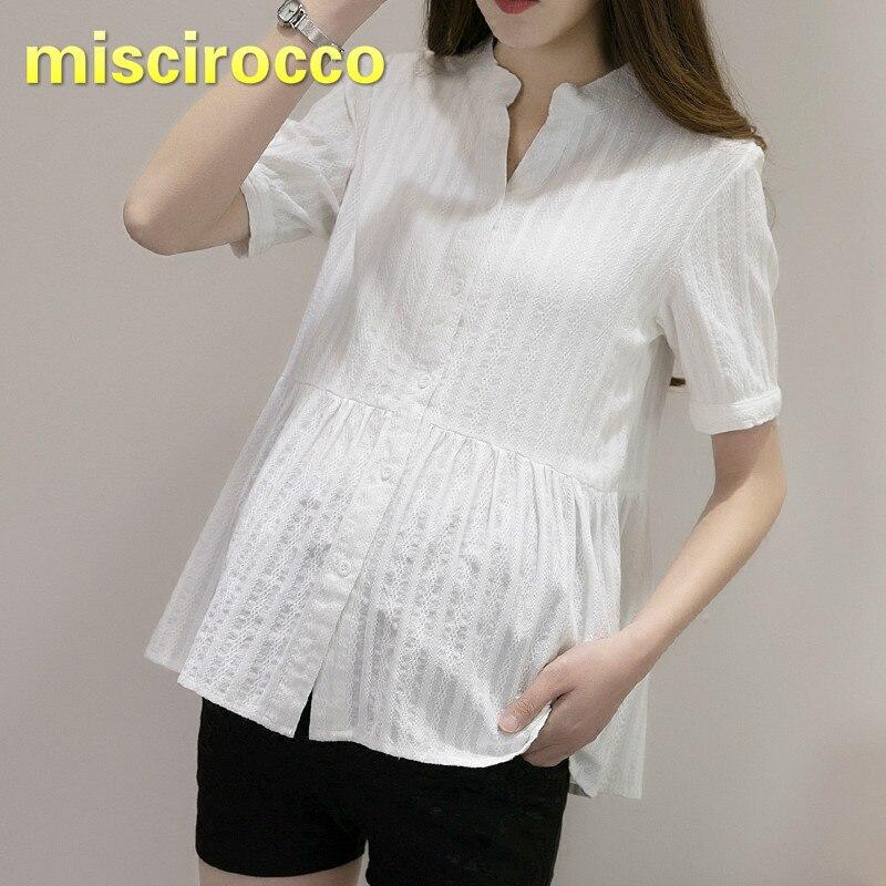 Maternity Cotton Shirt Short Sleeved