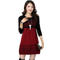 Women Sweater Dress New Fashion 2018 Autumn Winter Dress Female Korean Slim Long Sleeved Wool Knit Bottoming A line Dress H10