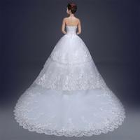 Fansmile Luxury Crystal Vintage Lace Long Train Wedding Dress 2019 Vestido de Noiva Plus Size Bridal Dress FSM 167T