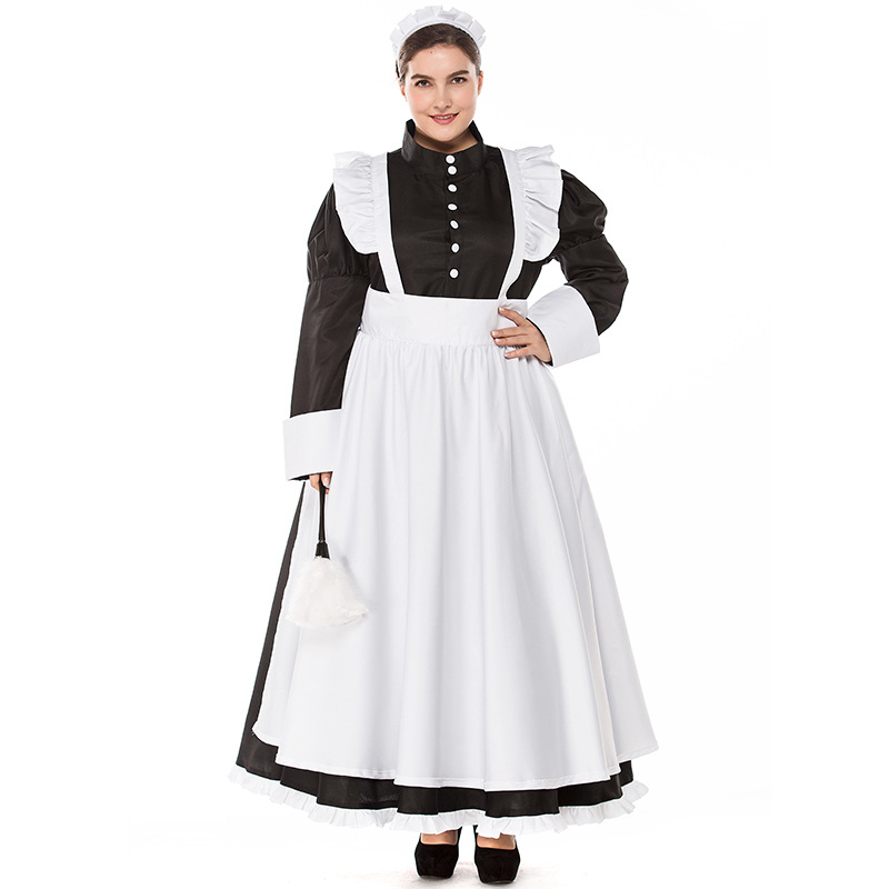 Plus Size Export British Wind Pearl Line Long Coffee Shop Maid Halloween Maid COS Costumes Halloween Game Suit L186237