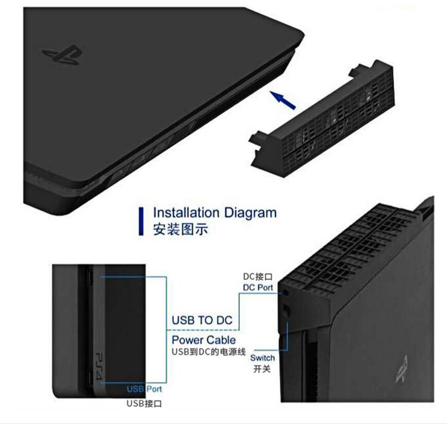 Купить с кэшбэком PS4 Slim Cooler Pad Cooling with USB External 3-Fan Super Turbo HUB 4 USB Ports Cable Adapter For Playstation 4 Slim Console